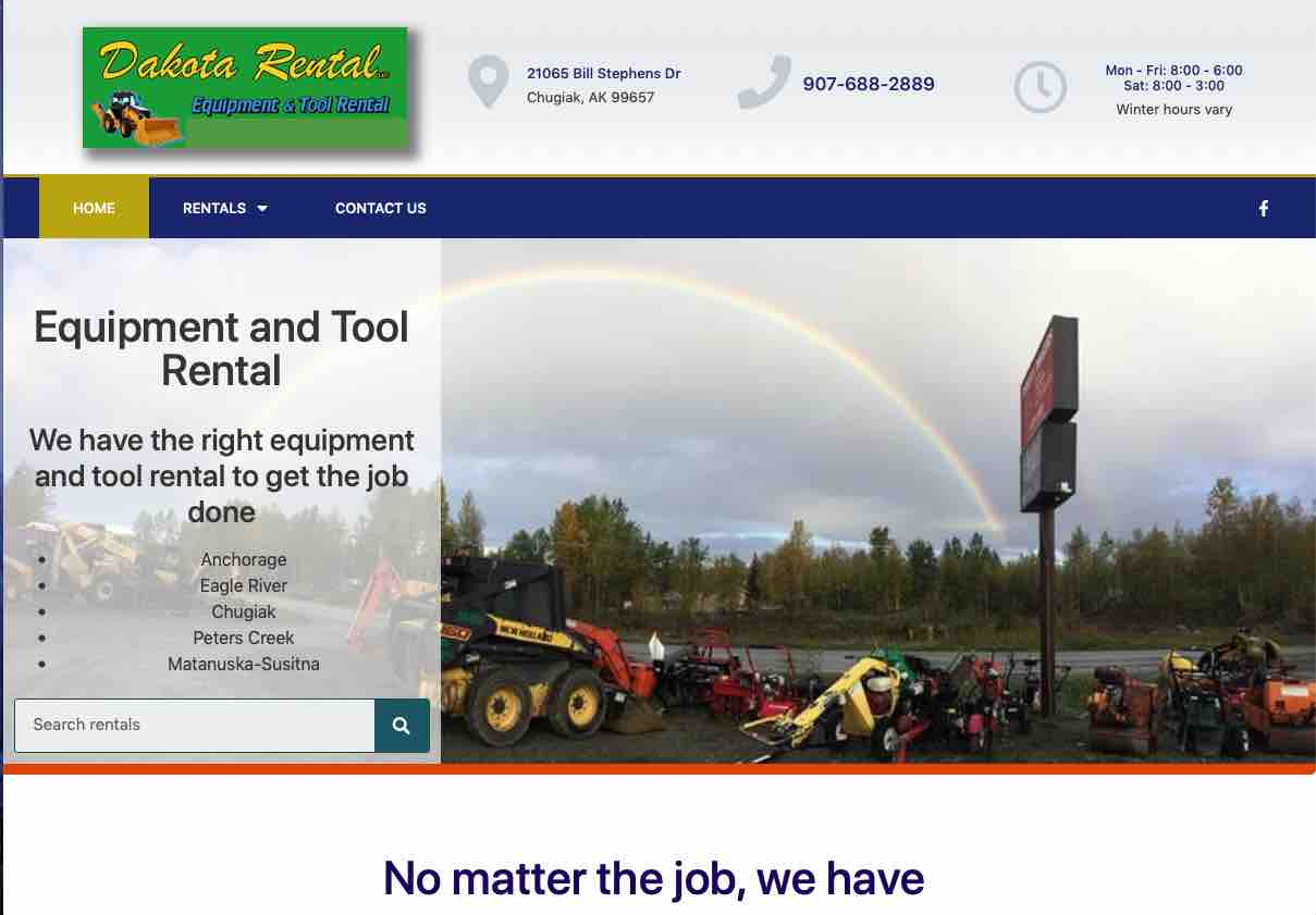 Equipment rental website